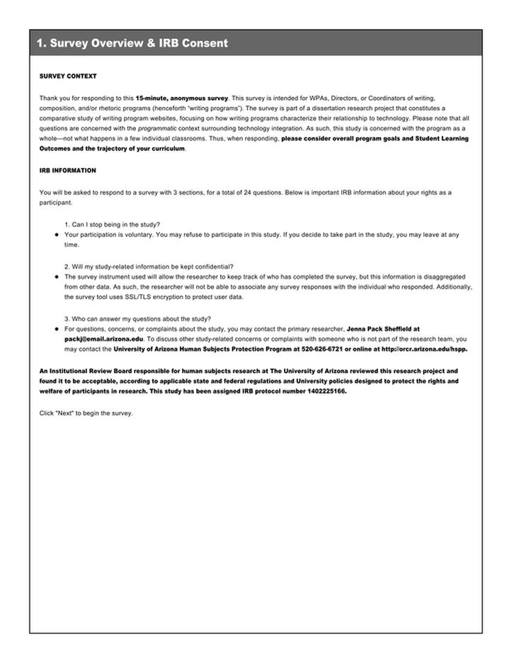 Survey - Thinking Beyond Tools: Writing Program